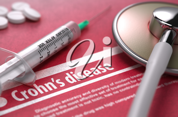 Crohn's disease - Medical Concept on Red Background with Blurred Text and Composition of Pills, Syringe and Stethoscope. 3d Render.