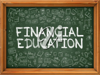 Financial Education - Hand Drawn on Chalkboard. Financial Education with Doodle Icons Around.