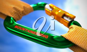 Strong Connection between Green Carabiner and Two Orange Ropes Symbolizing the Mountaineering. Selective Focus. 3d Render.