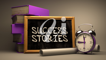 Success Stories Handwritten by white Chalk on a Blackboard. Composition with Small Chalkboard and Stack of Books, Alarm Clock and Rolls of Paper on Blurred Background. Toned Image. 3d Render.