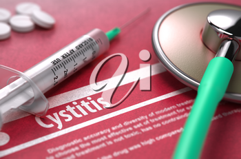 Cystitis - Medical Concept on Red Background with Blurred Text and Composition of Pills, Syringe and Stethoscope. 3d Render.