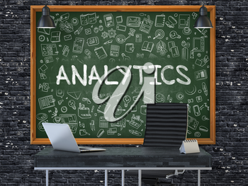 Green Chalkboard on the Dark Brick Wall in the Interior of a Modern Office with Hand Drawn Analytics. Business Concept with Doodle Style Elements. 3D.