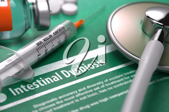Intestinal Dysbiosis - Printed Diagnosis on Green Background with Blurred Text and Composition of Pills, Syringe and Stethoscope. Medical Concept. Selective Focus. 3d Render.
