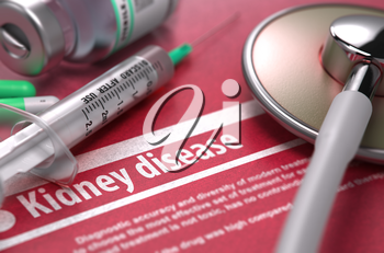 Kidney disease - Medical Concept on Red Background with Blurred Text and Composition of Pills, Syringe and Stethoscope. 3d Render.
