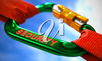 Green Carabine with Red Ropes on Sky Background, Symbolizing the Security. Selective Focus. 3d Render.