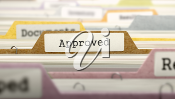 Approved Concept on File Label in Multicolor Card Index. Closeup View. Selective Focus. 3d Render.