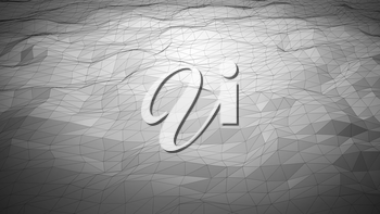 Silver gray abstract polygonal background with wireframe lines. Computer generated 3d still.