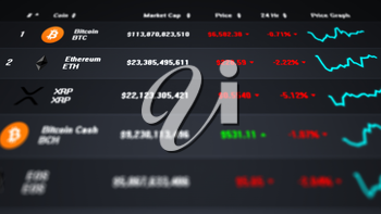 Computer screen showing a list of prices and market caps of several cryptocurrencies. Top down view. Dark gray background version.