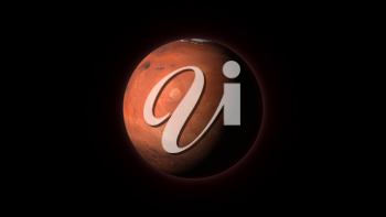 Planet Mars on a black background. Computer generated illustration. Mars texture is public domain provided by NASA.
