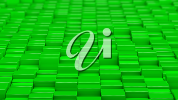 Grid of green cubes in a randomized pattern. Wide shot. 3D computer generated background image.