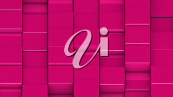 Grid of pink cubes in a randomized pattern. Medium shot. 3D computer generated background image.