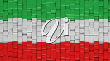 Iranian civil flag made of cubes in a random pattern. 3D computer generated image.
