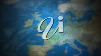 Western Europe on a world map with vignette and radial blur effect. Elements of this image are furnished by NASA.