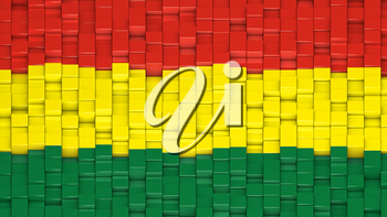 Bolivian civil flag made of cubes in a random pattern. 3D computer generated image.
