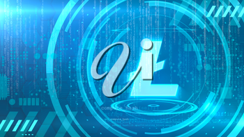 Litecoin symbol on a cyan background with HUD elements related to computer technology.