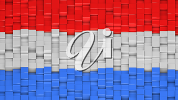 Luxembourgish flag made of cubes in a random pattern. 3D computer generated image.