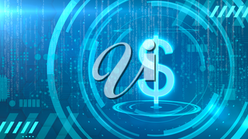 Dollar symbol on a cyan background with HUD elements related to computer technology.