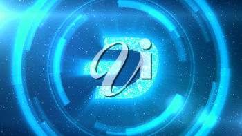 Blue Dash symbol centered on a starscape background with HUD elements.