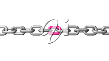 A single pink colored link in a chain. Conceptual image depicting being unique and standing out. LGBT pride concept. 3D rendered illustration. Horizontal version.