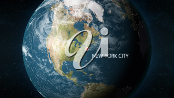 3D illustration depicting the location of New York City, New York in the United States of America, on a globe seen from space.