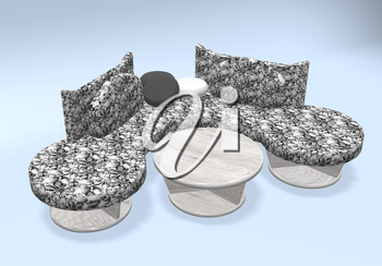 divan with floral fabric and table. 3d illustration