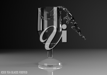 iced tea glass footed 3D illustration on dark background