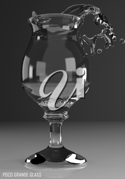 poco grande glass 3D illustration on dark background
