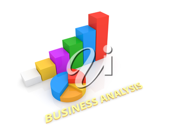 Graphs and inscription of the business analyst on a white background. 3d render illustration.
