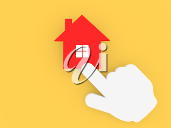 Cursor hand clicking on the house icon. 3d render illustration.