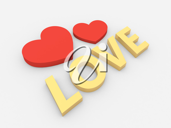 Two hearts and an inscription love on a white background. 3d render illustration.
