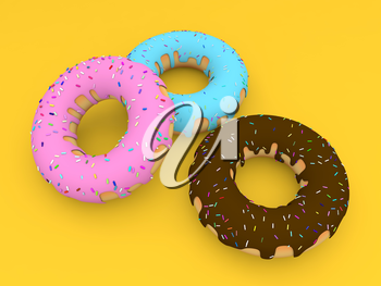 Three colored donuts on a yellow background. 3d render illustration.