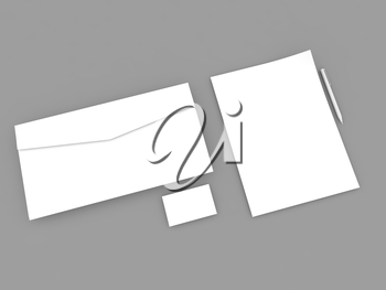 White paper sheet envelope business card and pen on a gray background. 3d render illustration.