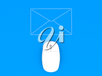 Computer mouse and envelope on a blue background background. 3d render illustration.