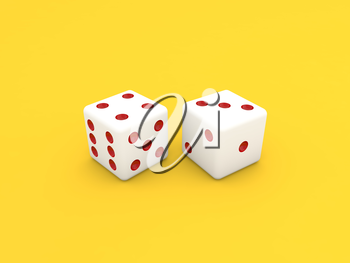 Casino dice on a yellow background. 3d render illustration.