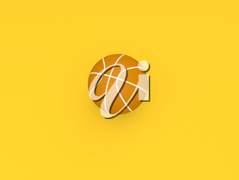Basketball ball on a yellow background. 3d render illustration.