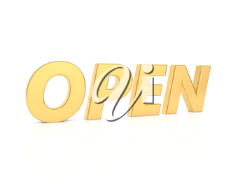 OPEN - inscription in gold letters on a white background. 3d render illustration.