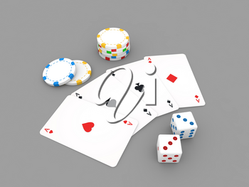 Playing cards, chips, dice, on a gray background. 3d render illustration.
