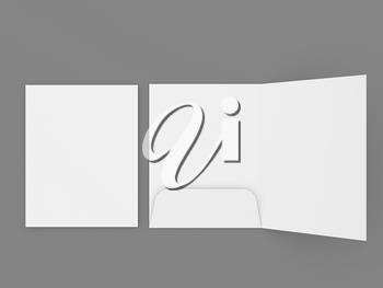 Mockup of a folder with a pocket for A4 sheets of paper on a gray background. 3d render illustration.