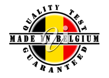 Quality test guaranteed stamp with a national flag inside, Belgium