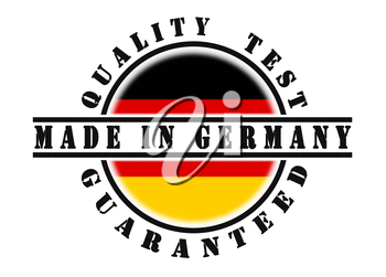 Quality test guaranteed stamp with a national flag inside, Germany