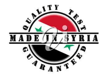 Quality test guaranteed stamp with a national flag inside, Syria