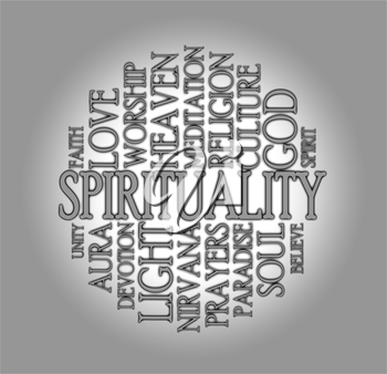 Spirituality word cloud with a grey background