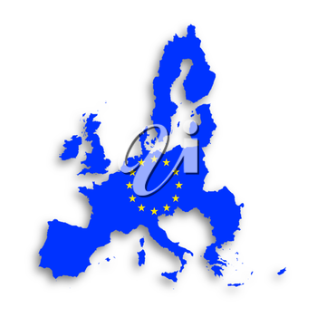 Illustration of a map of European union and EU flag, isolated