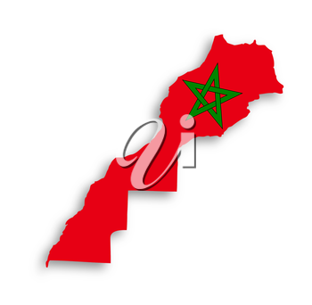 Morocco map with the flag inside, isolated