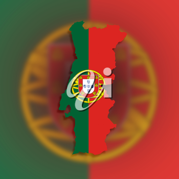 Map of Portugal filled with flag, isolated
