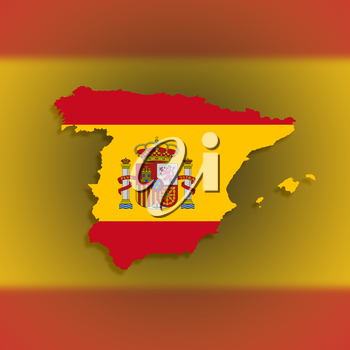 Spain map with the flag inside, isolated