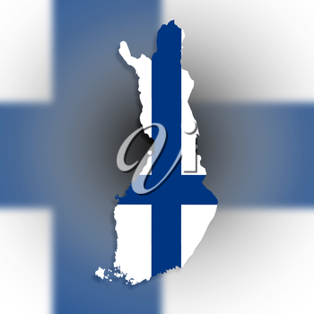 Map of Finland filled with flag, isolated