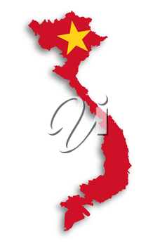 Map of Vietnam filled with flag, isolated