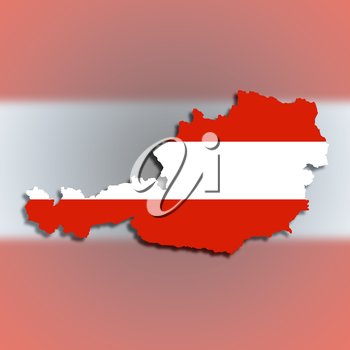 Map of Austria filled with flag, isolated