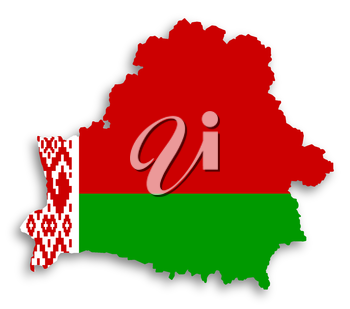 Map of Belarus filled with flag, isolated